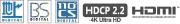 地上デジタル/BSデジタル/CSデジタル/HDCP2.2/HDMI